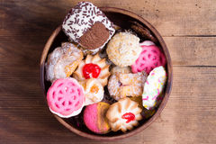 Bowl of colorful delicious assorted cookies Stock Photo