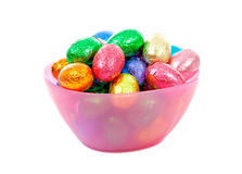 Bowl with colorful easter eggs Royalty Free Stock Image