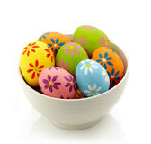 Bowl of colorful eggs Royalty Free Stock Photography