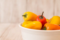 Bowl With Colorful Mini Sweet Bell Peppers Stock Images