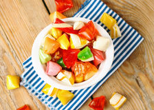 Bowl with colorful sweet candies. Selective focus, top view. Traditional Seker Bayram holidays candies royalty free stock photo