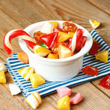 Bowl with colorful sweet candies. Selective focus. Traditional Seker Bayram holidays candies stock photography