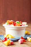 Bowl with colorful sweet candies. Selective focus. Traditional Seker Bayram holidays candies stock images