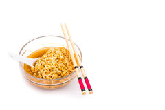 Bowl of convenient but unhealthy instant noodle with flavored so Royalty Free Stock Photos