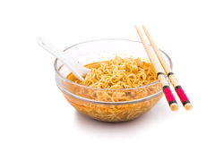 Bowl of convenient but unhealthy instant noodle with flavored so Stock Photos