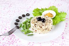 Bowl of cooked mixed wild Rice. Stock Photos