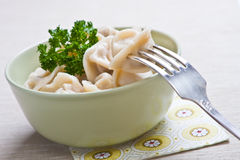 Bowl of cooked pelmeni. Green bowl of cooked pelmeni Royalty Free Stock Photos