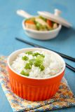Bowl of cooked rice with green onion Stock Images