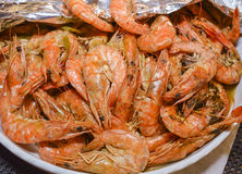 Bowl of cooked shrimps Stock Photo