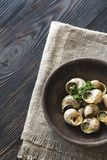 Bowl of cooked snails Royalty Free Stock Photography