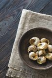 Bowl of cooked snails Stock Photography