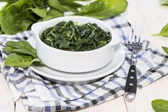 Bowl with cooked Spinach Stock Photography