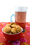 Bowl with cookies and a carafe with lemonade Royalty Free Stock Photography