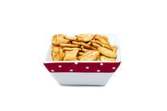 Bowl of cookies, isolated on a white background. Stock Photos