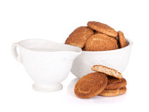 Bowl with cookies and milk Stock Photography