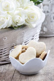 Bowl of cookies on rustic wooden table Royalty Free Stock Photography