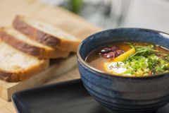 Bowl with cooled soup with beans Royalty Free Stock Photo