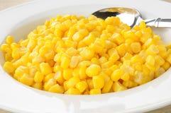 Bowl of corn. Serving bowl of corn kernels close up Stock Image