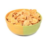 Bowl of corn cereal. Isolated on a white background Royalty Free Stock Photography