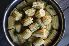 Bowl of corn on the cob. Metal bowl with cooked corn on the cob pieces and fresh green herbs Royalty Free Stock Photo