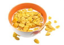 Bowl with corn flakes. And milk on the white Stock Image
