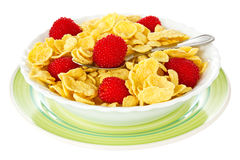 Bowl of corn flakes with berries Royalty Free Stock Image