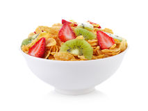 Bowl of corn flakes with fruit Stock Photo