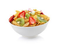 Bowl of corn flakes with fruit Stock Photos