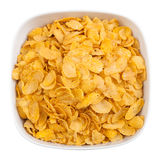 Bowl of corn flakes isolated with clipping path Stock Images