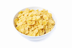 Bowl of corn flakes. Isolated on white background Stock Photography