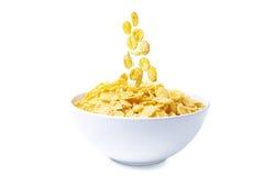 Bowl of corn flakes. Isolated on white background Stock Photo