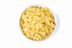 Bowl of corn flakes. Isolated on white background. top view Royalty Free Stock Photography