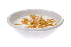 Bowl with corn flakes and milk Stock Photography