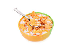 Bowl of corn flakes with milk. Stock Photography