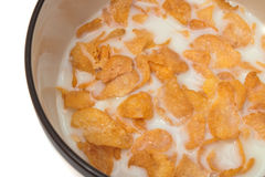 Bowl with corn flakes and milk Royalty Free Stock Photography