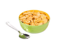 Bowl of corn flakes with spoon. Stock Photo