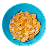 Bowl of corn flakes , top view Royalty Free Stock Images