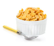 Bowl with corn flakes Stock Image