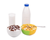 Bowl of cornflake and milk bottle Royalty Free Stock Image