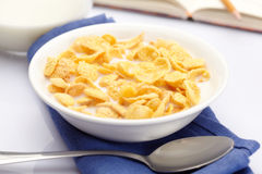 Bowl of cornflakes Royalty Free Stock Photos