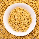 Bowl of cornflakes. Top view Stock Images