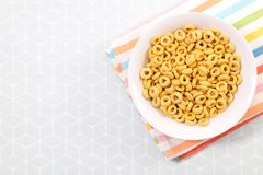 Bowl of cornflakes. Top view Stock Photography
