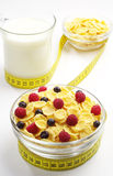 Bowl of cornflakes and cup of milk Stock Image