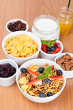 Bowl of cornflakes with fresh berries and breakfast cereals Stock Photos
