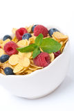 Bowl of cornflakes with fresh berries and mint, selective focus. Isolated on white Stock Images
