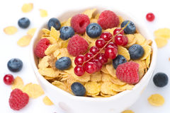 Bowl of cornflakes and fresh berries, top view. Close-up Stock Photos