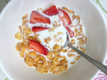 Bowl of cornflakes and fruit Royalty Free Stock Photography