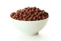 Bowl of cornflakes isolated on white Royalty Free Stock Photo