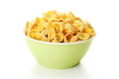 Bowl of cornflakes isolated on white Stock Image