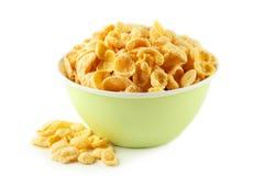 Bowl of cornflakes isolated on white Royalty Free Stock Photos